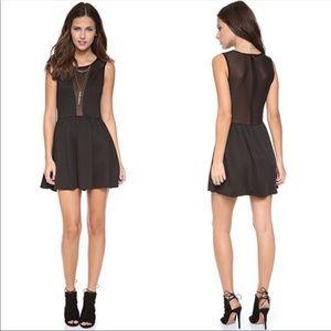 For Love & Lemons Sheer Mesh Mini LBD Black Dress